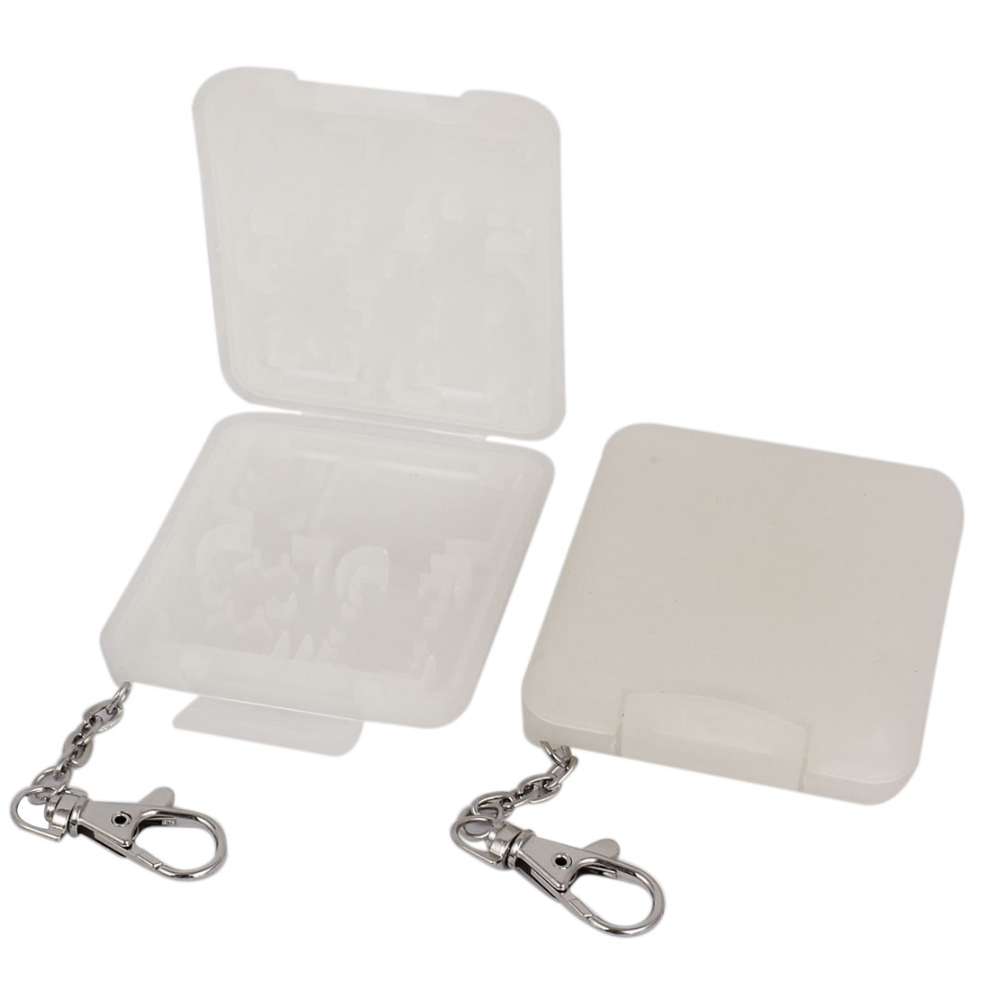 Light Gray Memory Card Storage Case Holder 18 Capacity 2Pcs with Key Chain