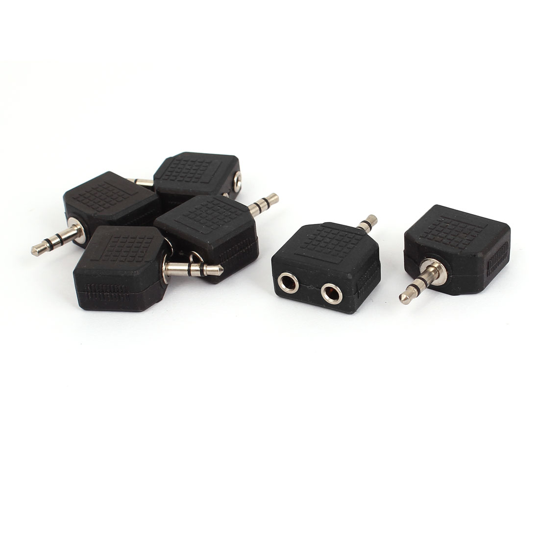 6Pcs 3.5mm Male to Dual Female Stereo Audio Convertor Adapter