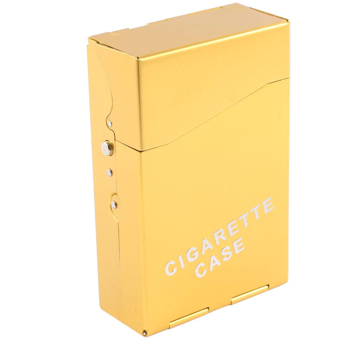 Tobacco Cigar 20 Capacity Rectangle Smoking Cigarette Case Box Dark Yellow