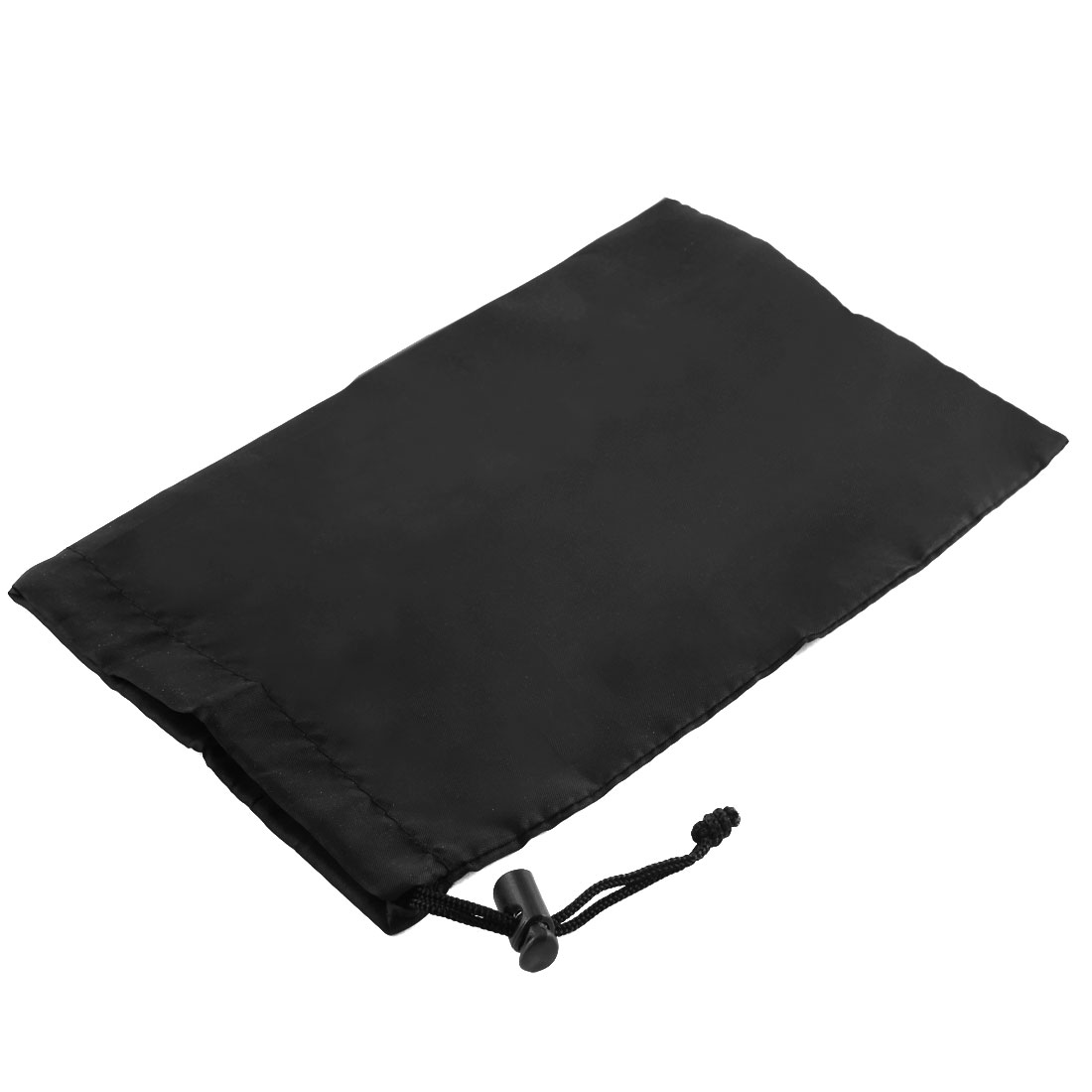 Home Black Nylon Folded Clothes Storage Drawstring Bag 22 x 14cm