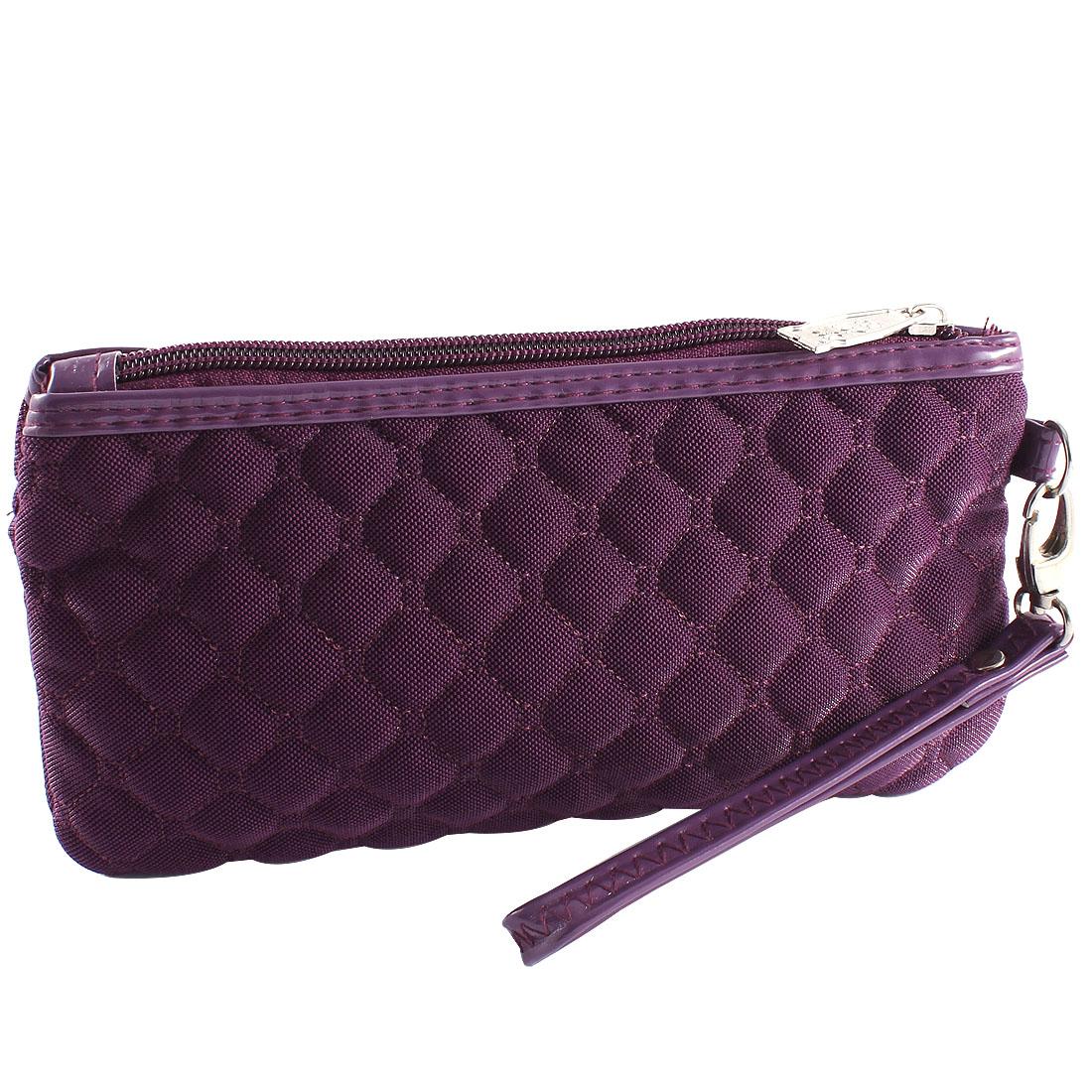 Woman Plaids Pattern Zipper Closure Phone Card Cash Purse Case Dark Purple