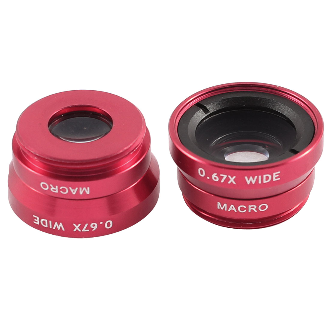 2 Pcs Red Fish Eye 0.67 Wide Angle Camera Macro Lens for Mobile Phone