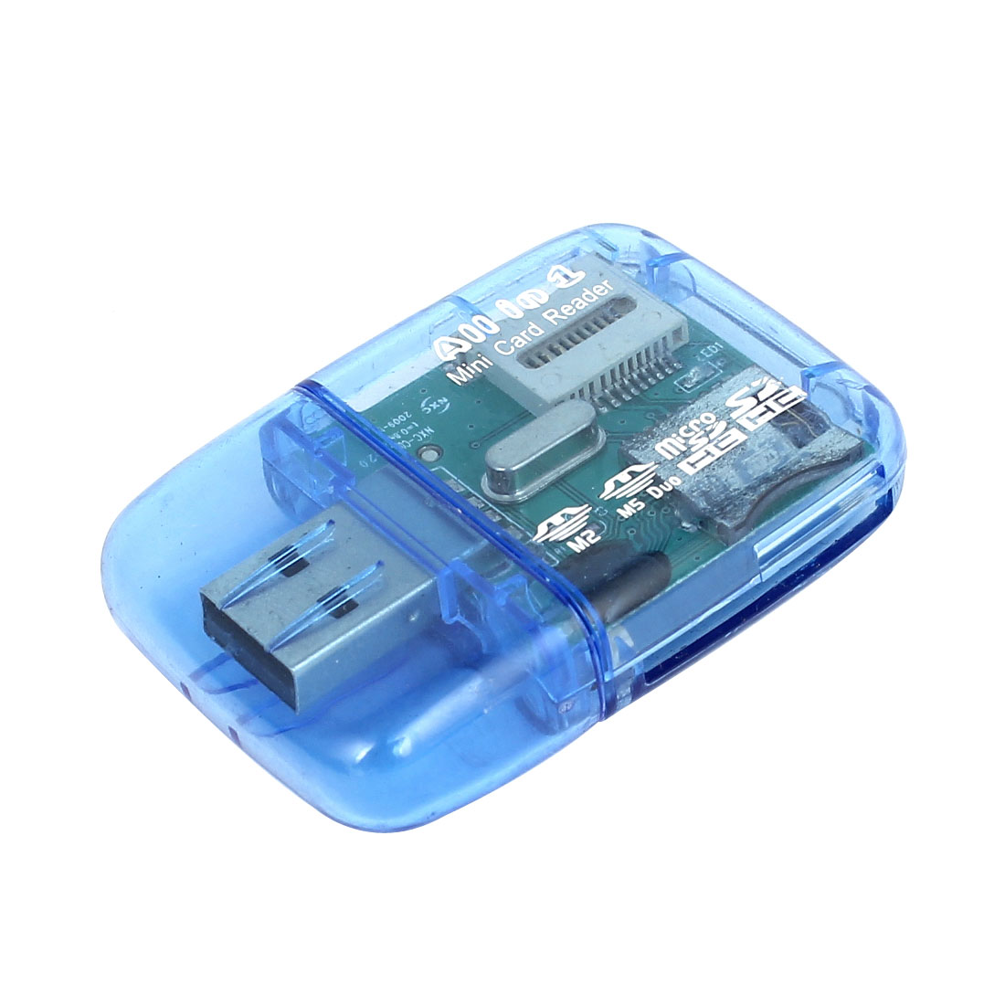 Blue Plastic Shell USB 2.0 4 in 1 SD SDHC Micro SD Memory Card Reader