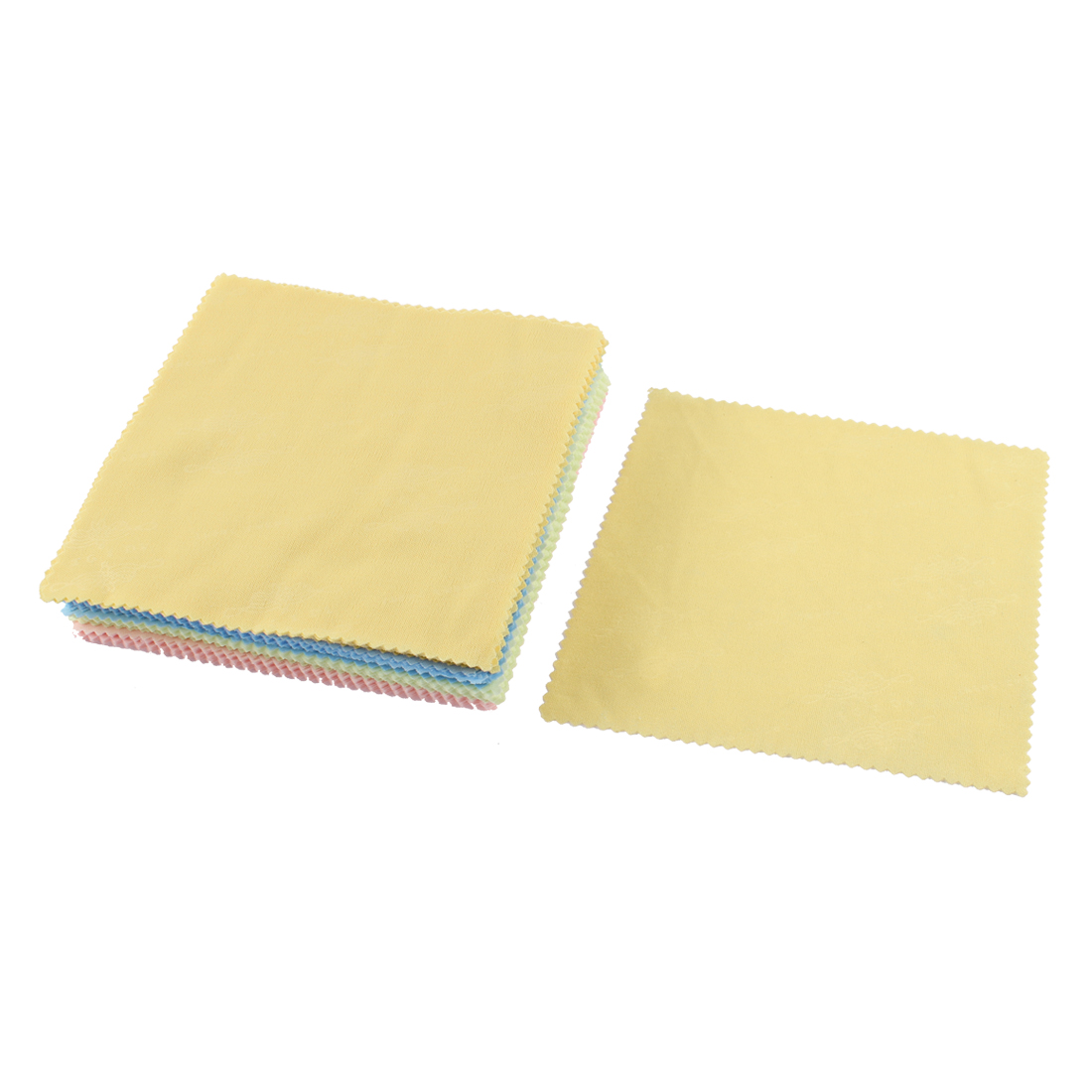 70 Pcs Multicolor Scalloped Edge Glasses Lens Cleaning Cloth 14 x 13.5cm