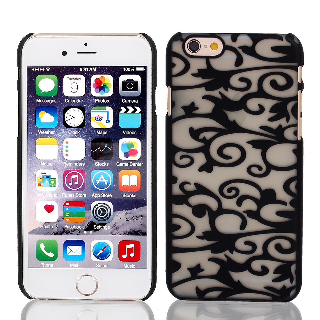 Vintage Print PVC Ultra Thin Case Cover Black Clear + Protective Film for iPhone 6 4.7""