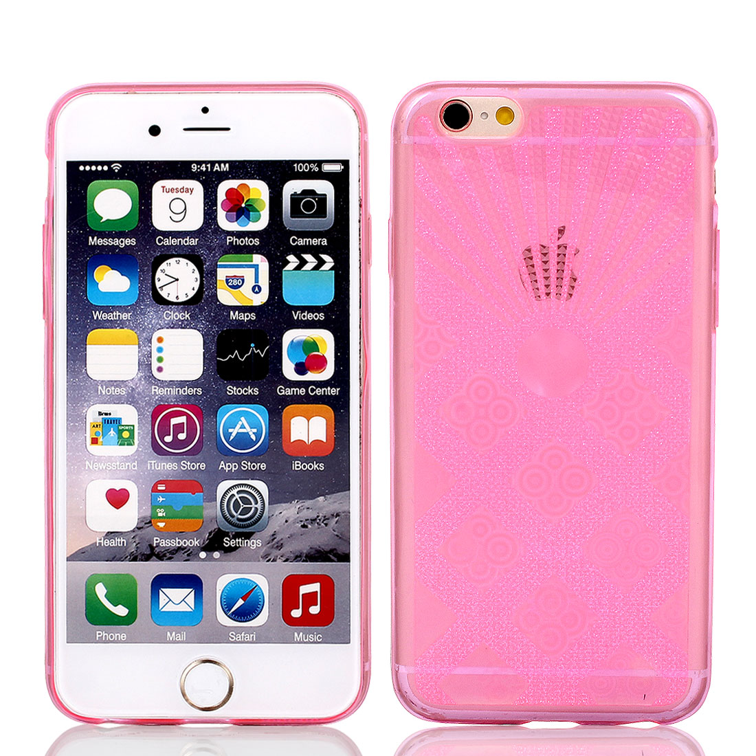 """Pink Luminous Back Case Cover w Protective Film Wiper for Apple iPhone 6 4.7"""""""