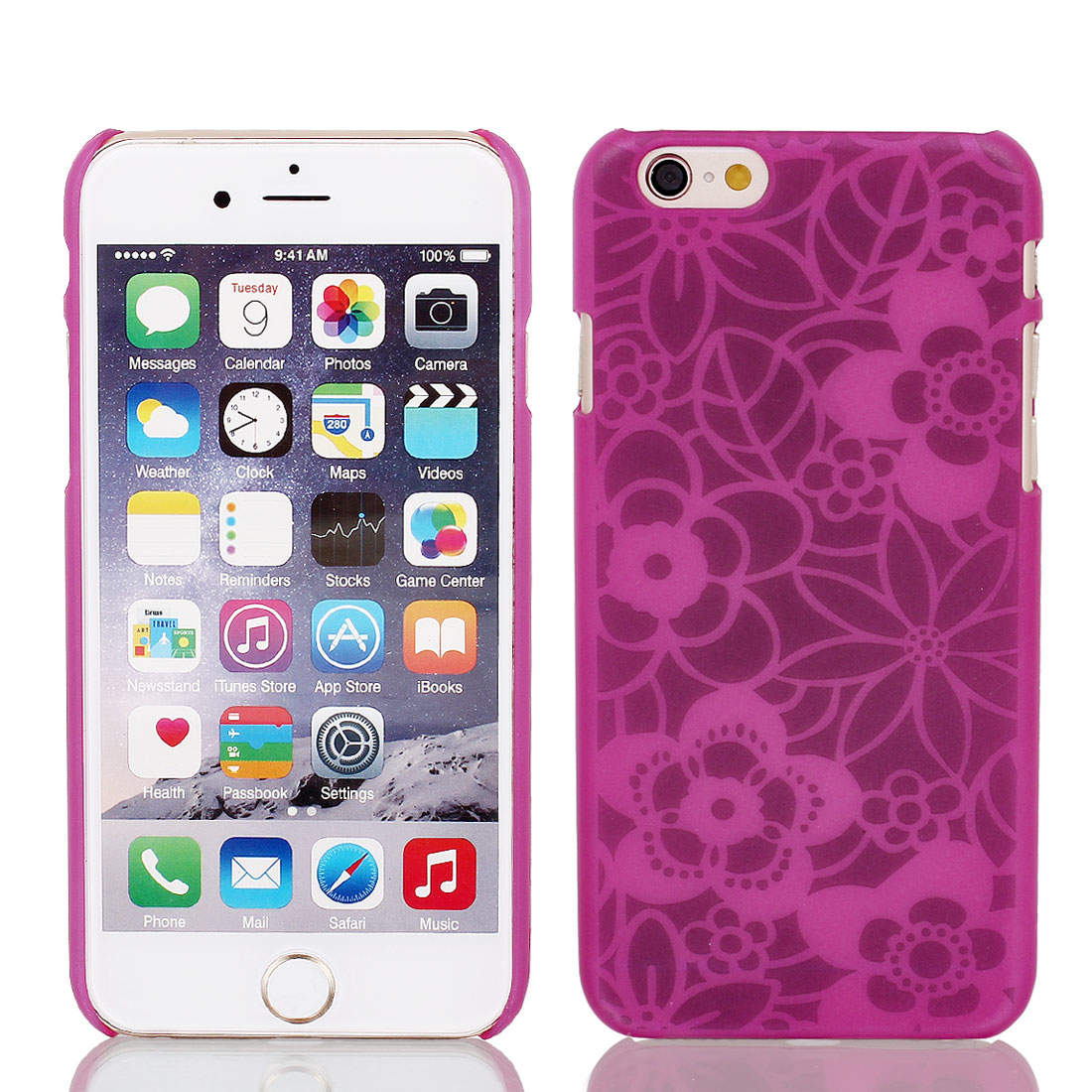 Vintage Print PVC Ultra Thin Case Cover Fuchsia + Protective Film for iPhone 6 4.7""