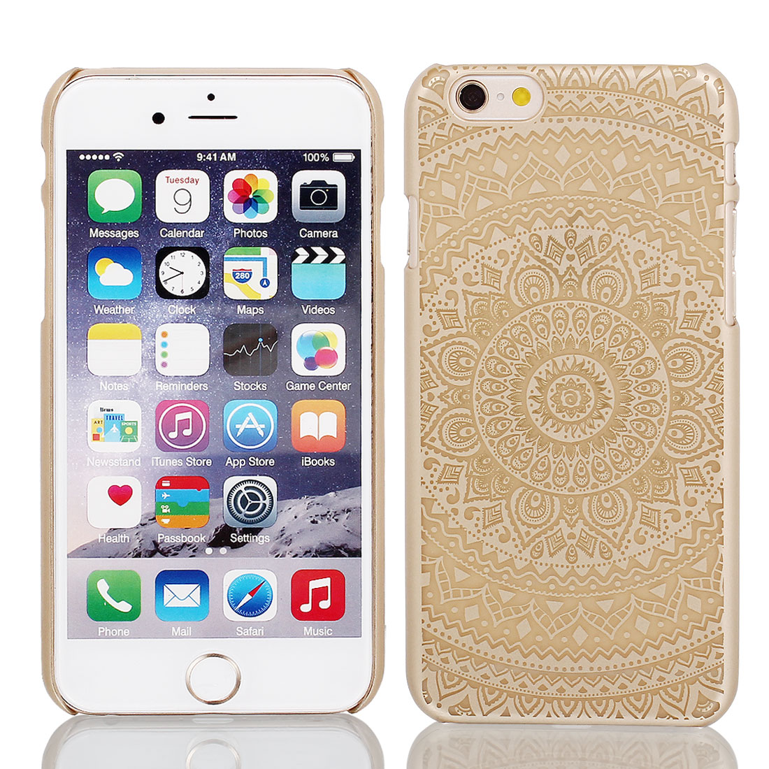 """Gold Tone PVC Ultra Thin Case Cover + Protective Film for iPhone 6 4.7"""""""