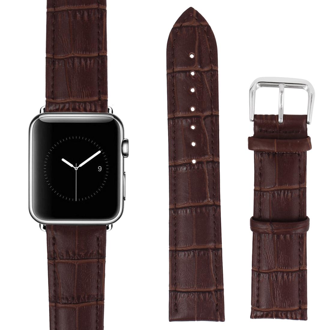 Faux Leather Steel Buckle Mens Sport Casual Wrist Watch Band Strap Belt Brown