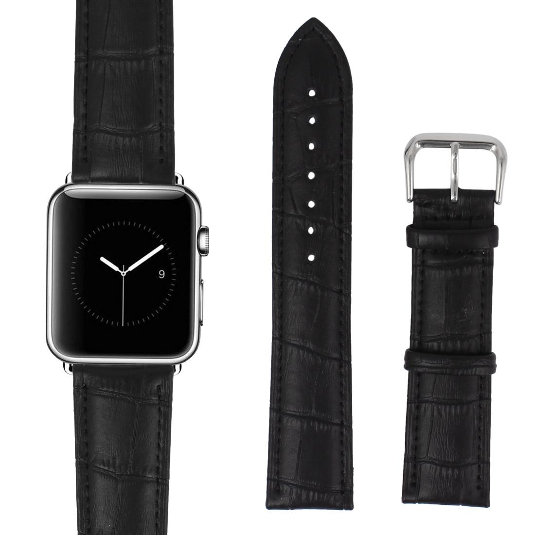 Faux Leather Steel Buckle Mens Sport Casual Wrist Watch Band Strap Belt Black