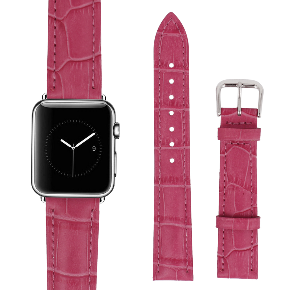 Faux Leather Steel Buckle Mens Business Sport Wrist Watch Band Strap Belt Pink