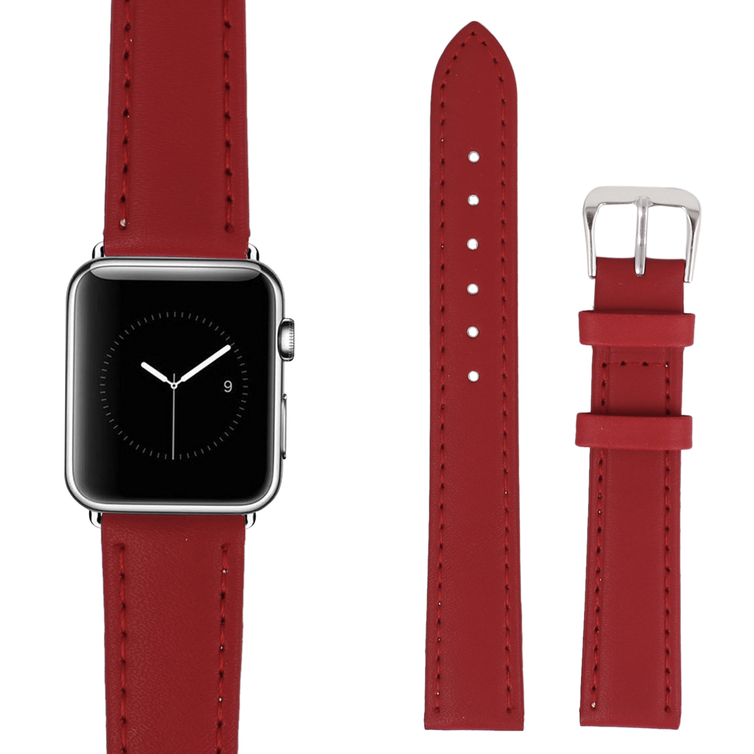 Faux Leather Stainless Steel Buckle Mens Wrist Watch Band Strap Belt Red