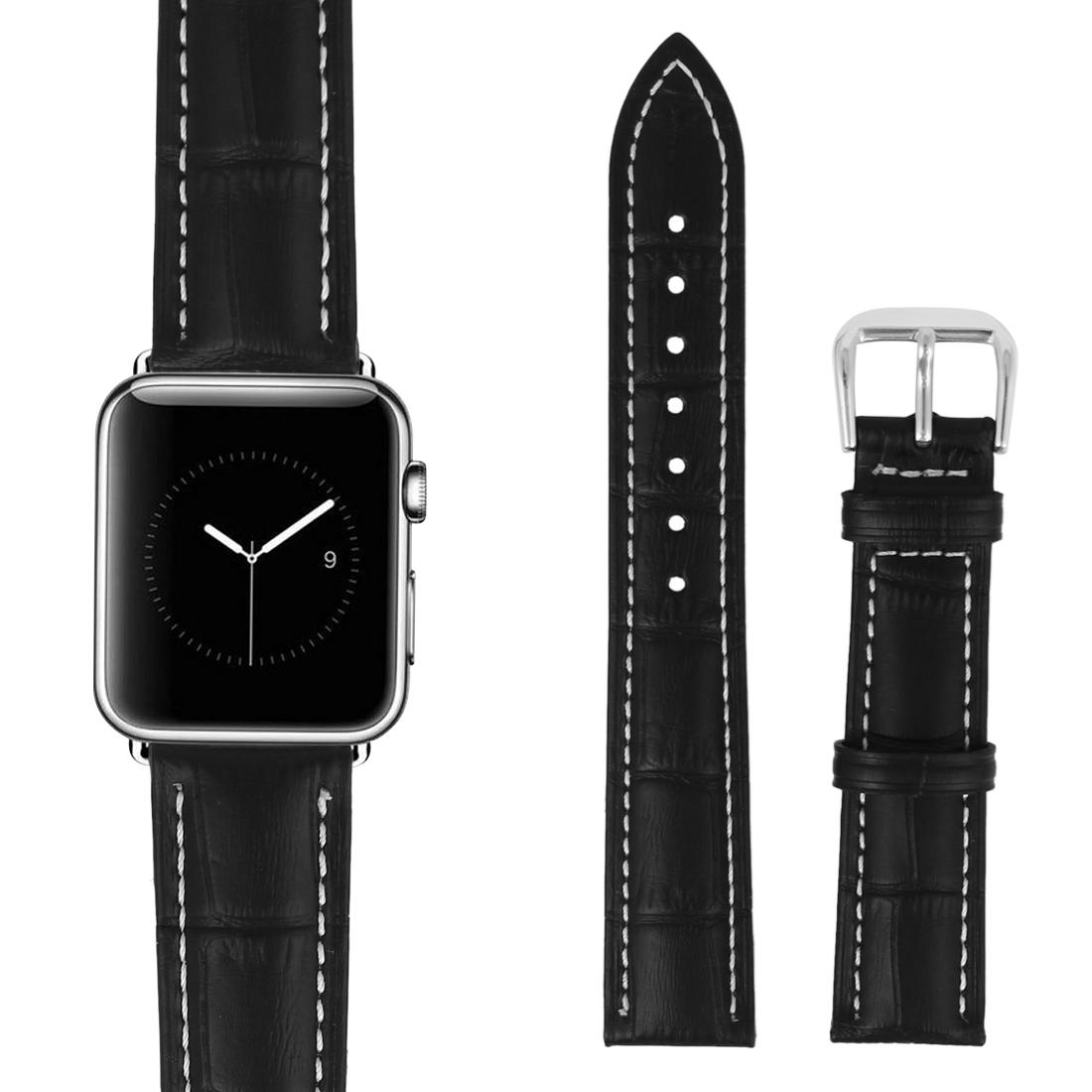 Faux Leather Steel Buckle Mens Business Sport Wrist Watch Band Strap Belt Black