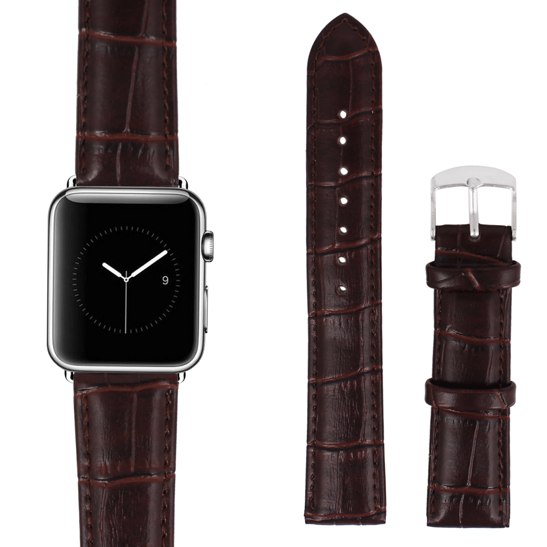 Faux Leather Stainless Steel Buckle Mens Wrist Watch Band Strap Belt Brown