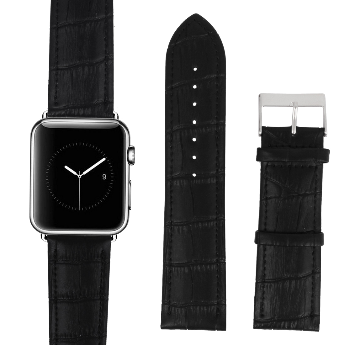 Faux Leather Stainless Steel Buckle Mens Casual Wrist Watch Band Strap Black