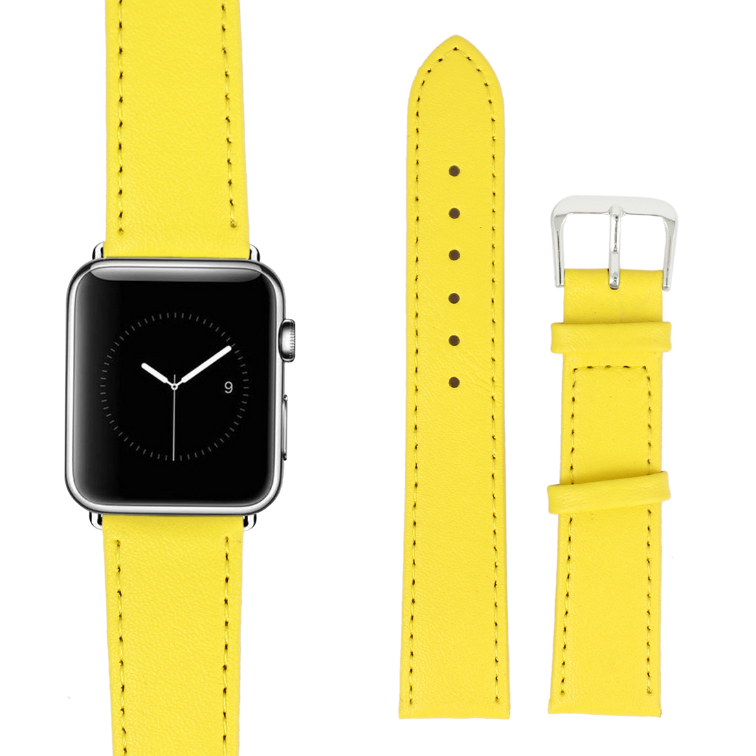 Faux Leather Stainless Steel Buckle Mens Wrist Watch Band Strap Belt Yellow