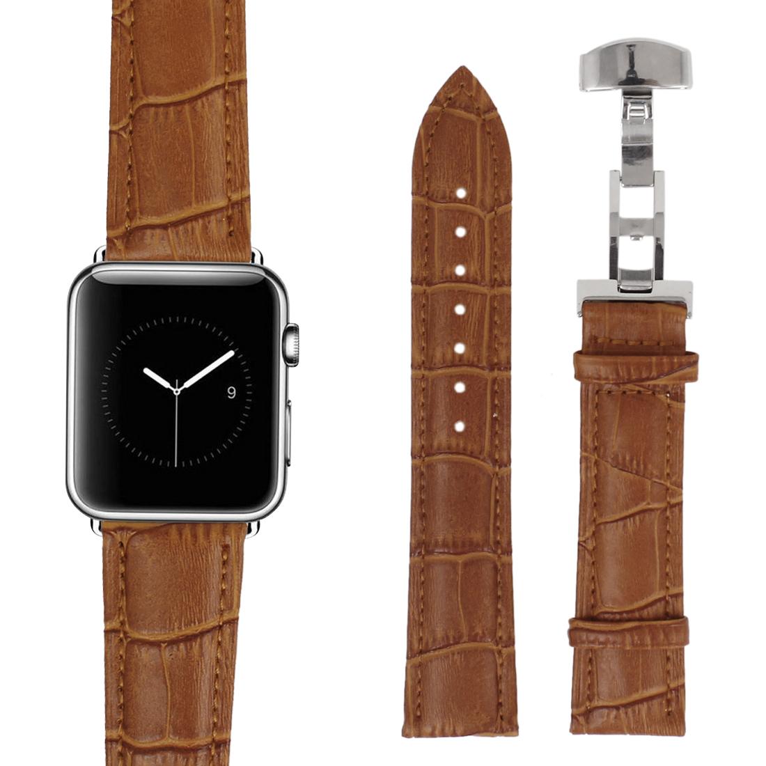 Faux Leather Steel Buckle Men Business Sport Wrist Watch Band Strap Belt Brown