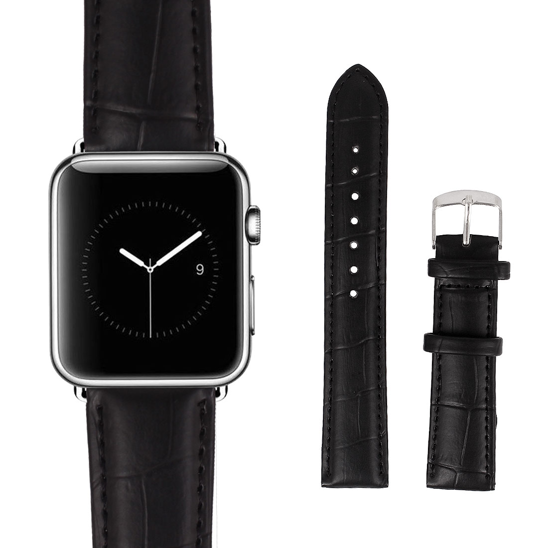 Faux Leather Stainless Steel Buckle Mens Wrist Watch Band Strap Belt Black