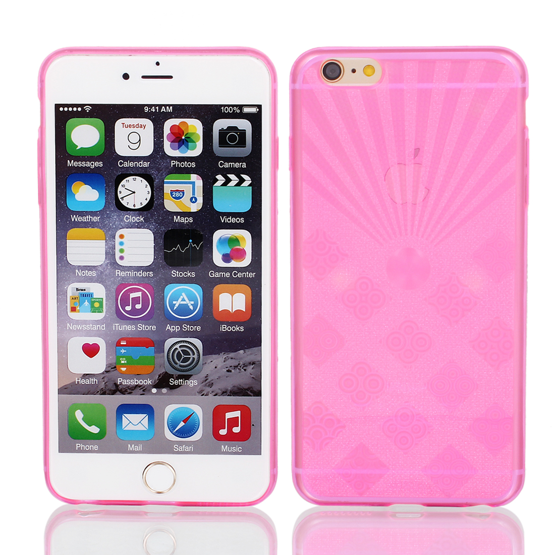 Pink Back Case Cover w Protective Film Wiper for Apple iPhone 6 Plus 5.5""