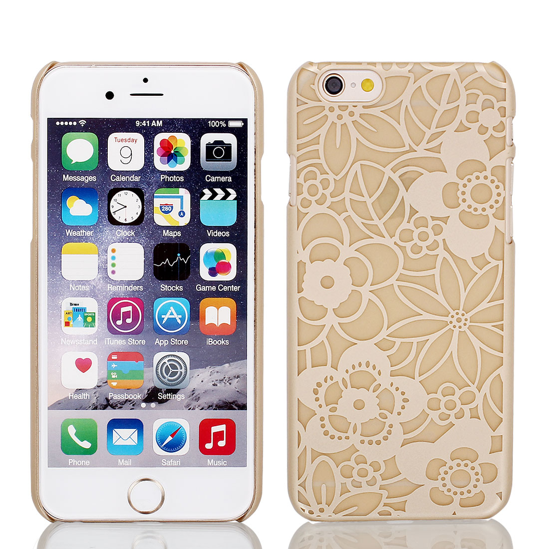 Vintage Print PVC Ultra Thin Case Cover Khaki + Protective Film for iPhone 6 4.7""