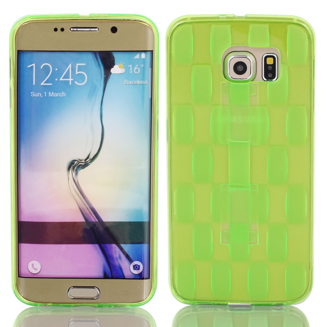 TPU Ultra-thin Rugged Hybrid Skin Case Cover Green for S6/G9200