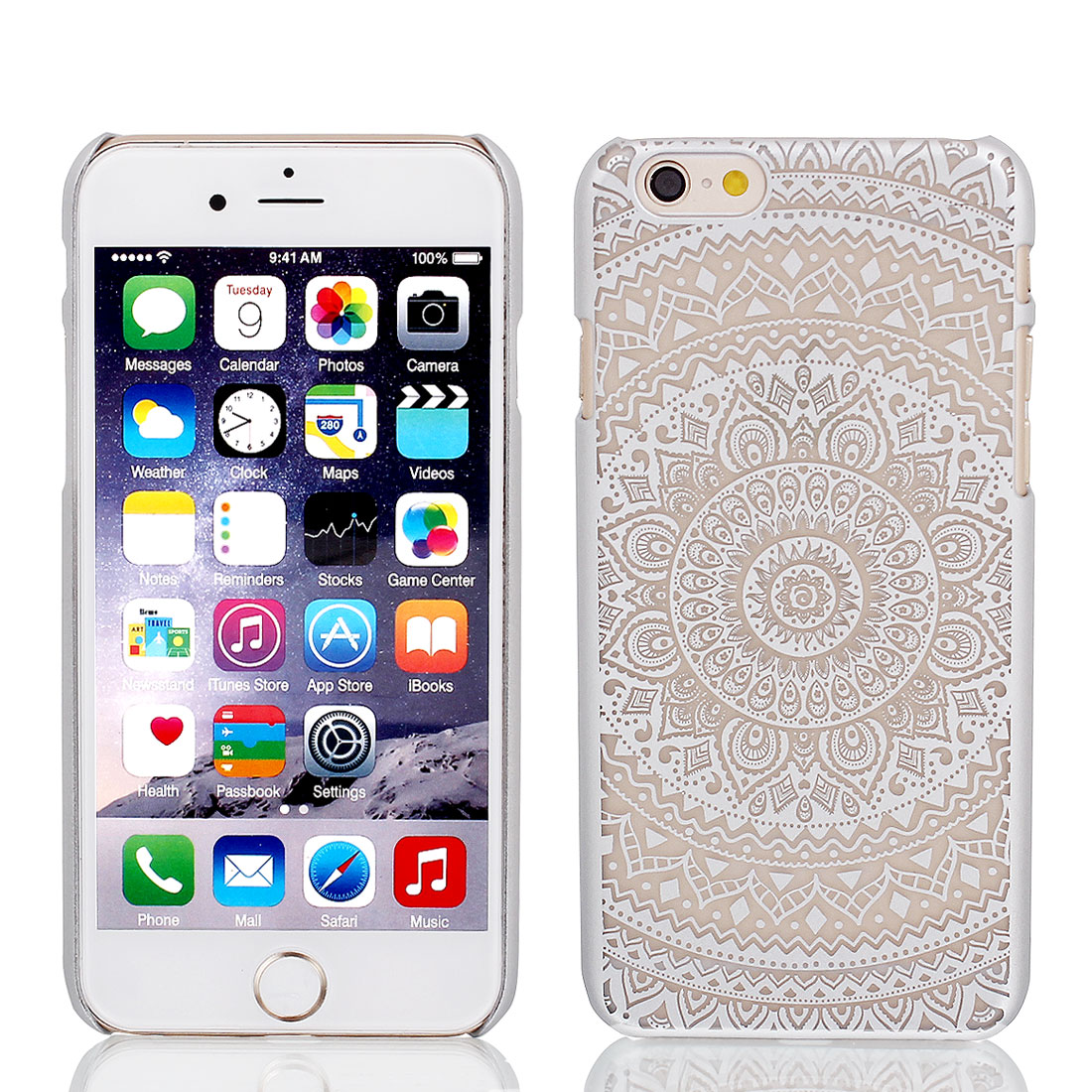 Vintage Print PVC Ultra Thin Case Cover Silver Gray + Protective Film for iPhone 6 4.7""