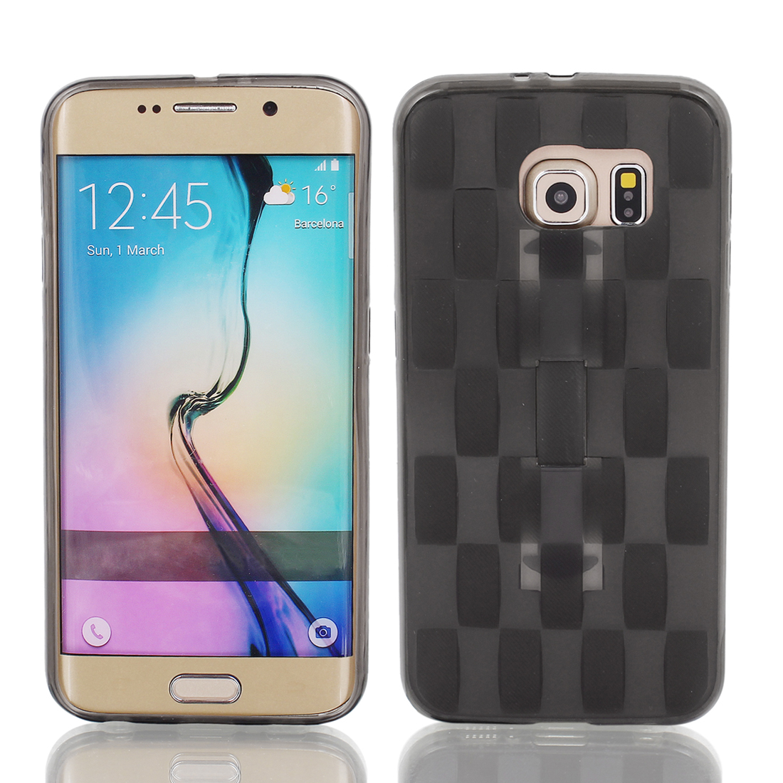 TPU Ultra-thin Rugged Hybrid Skin Case Cover Black for S6/G9200