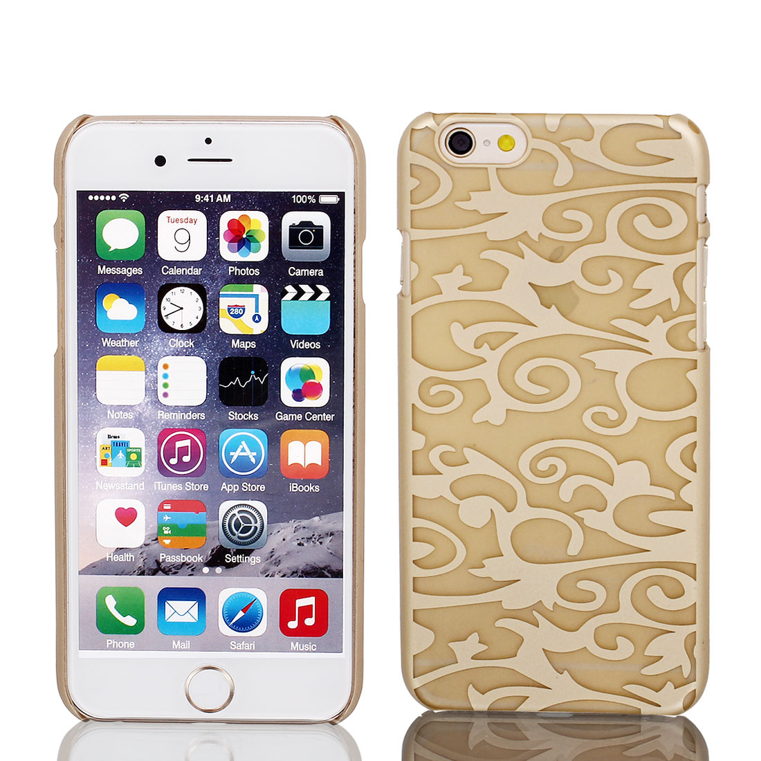 Gold Tone PVC Ultra Thin Vintage Print Case Cover for iPhone 6 4.7""