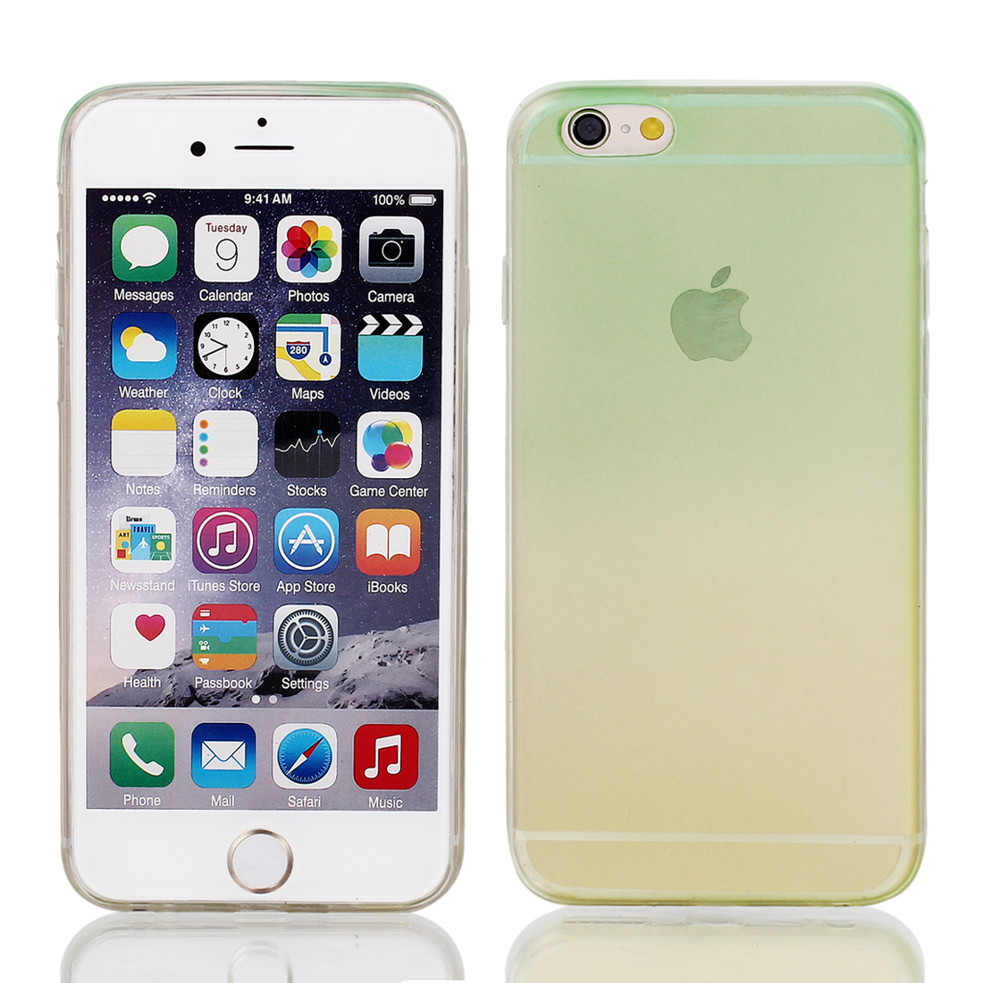 Light Green Yellow Back Case Cover w Protective Film Wiper for Apple iPhone 6 4.7""