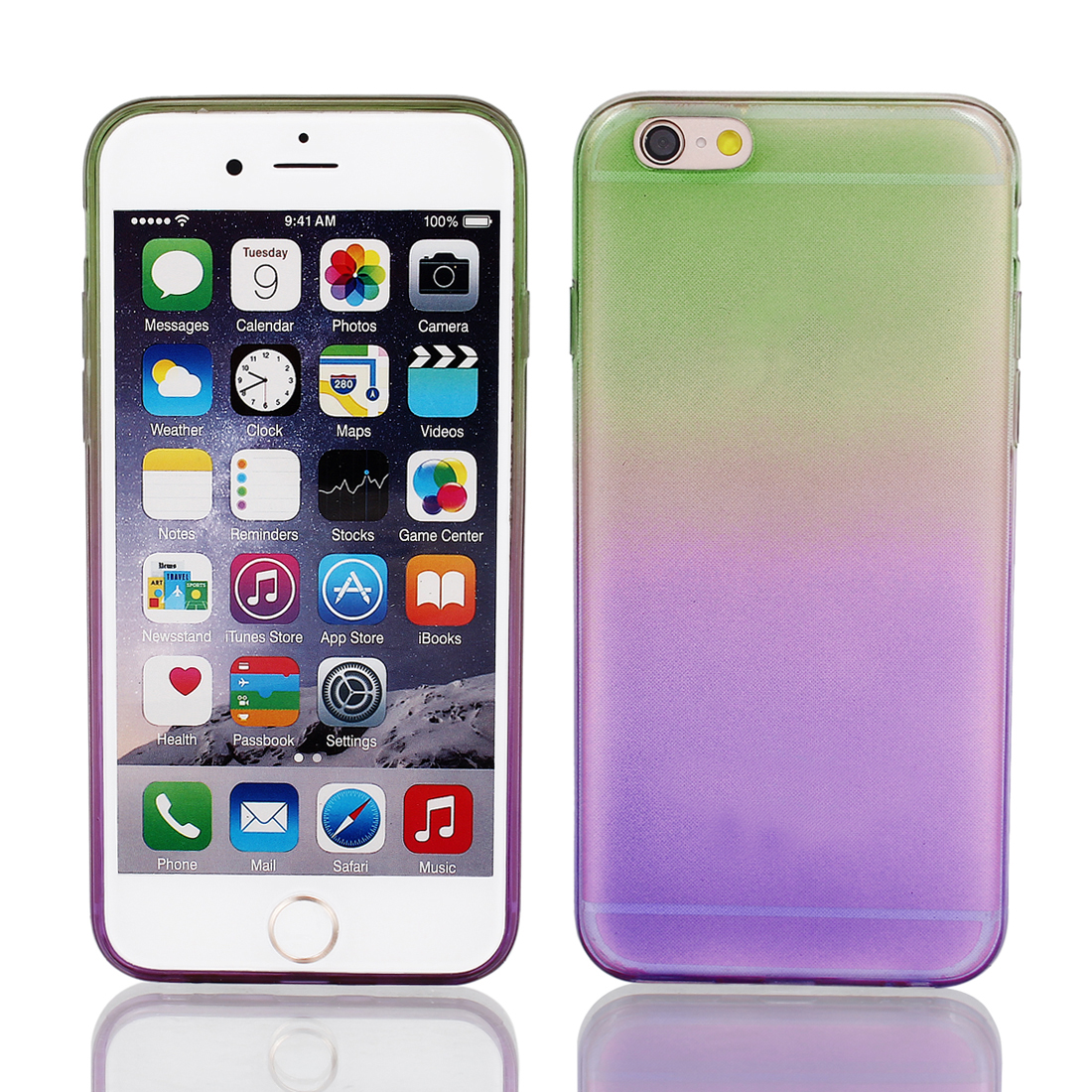 Light Purple Green Back Case Cover w Protective Film Wiper for Apple iPhone 6 4.7""