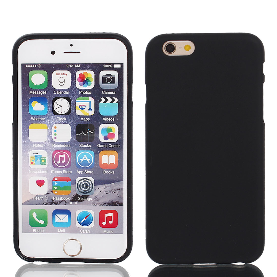 Black TPU Ultra Thin Case Cover + Protective Film for iPhone 6 4.7""