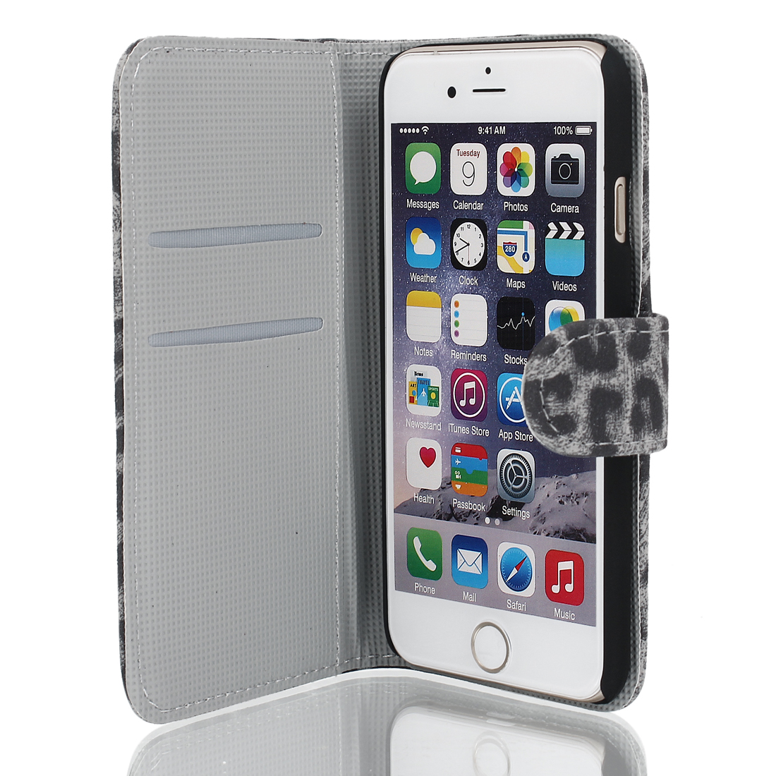 Leopard Pattern Magnetic Flip Wallet Pouch Case Cover Gray for iPhone 6 4.7""