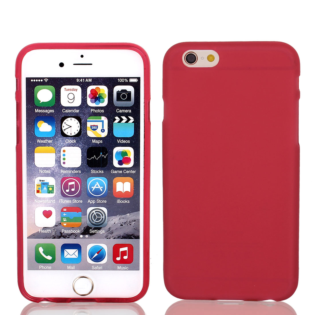 Red TPU Ultra Thin Case Cover + Protective Film for iPhone 6 4.7""