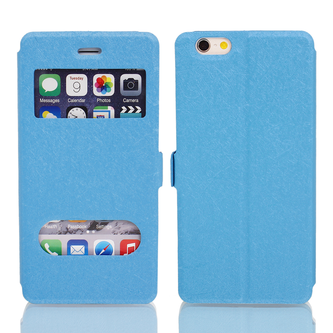 Magnetic Flip Faux Leather Pouch Case Cover Skin Blue for iPhone 6 4.7""