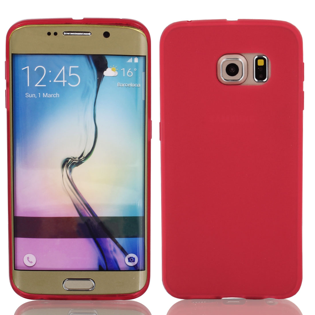 Red Back Case Cover Protector w Protective Film Wiper for S6/G925