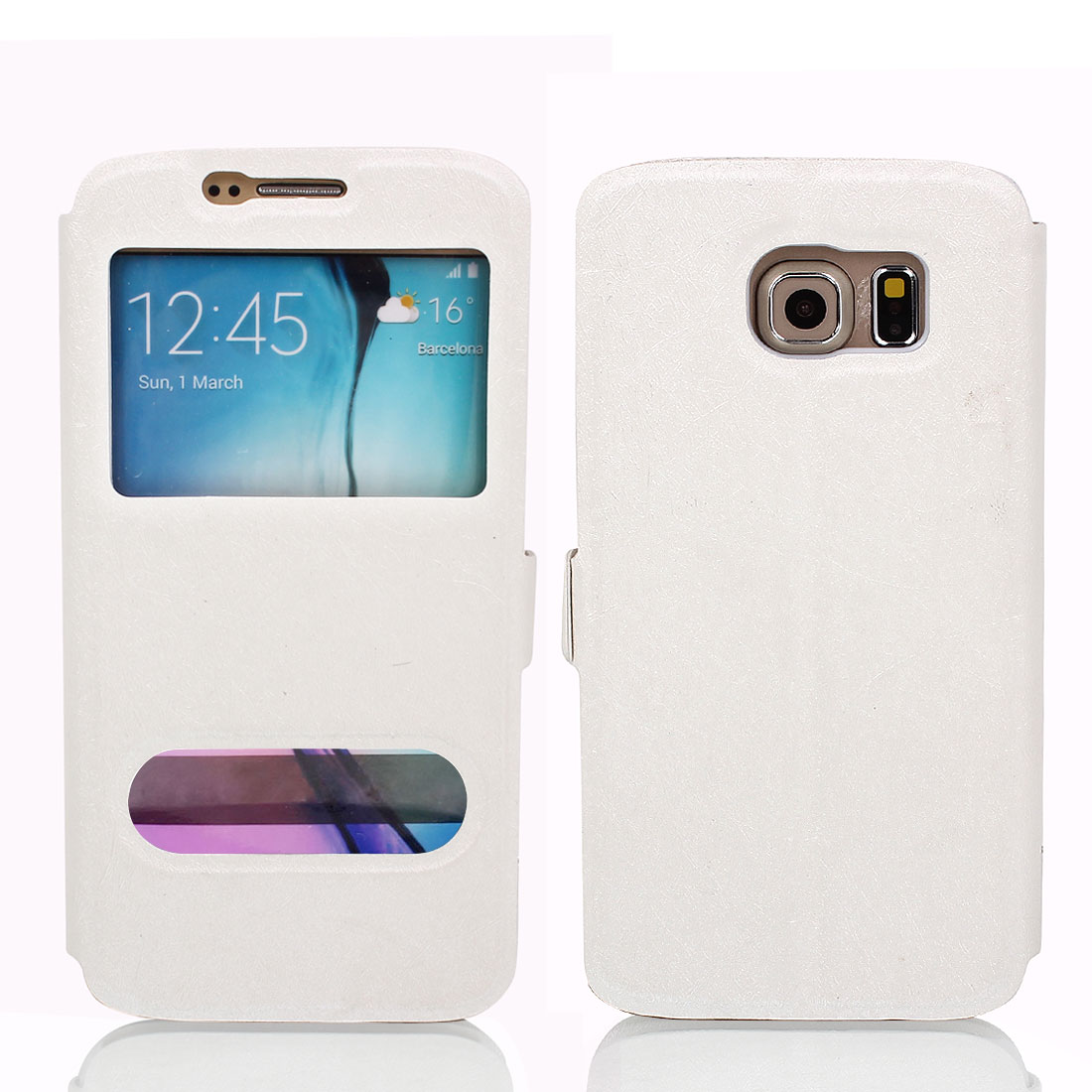 Magnetic Flip Faux Leather Case Cover Pouch White for Galaxy S6 G9200