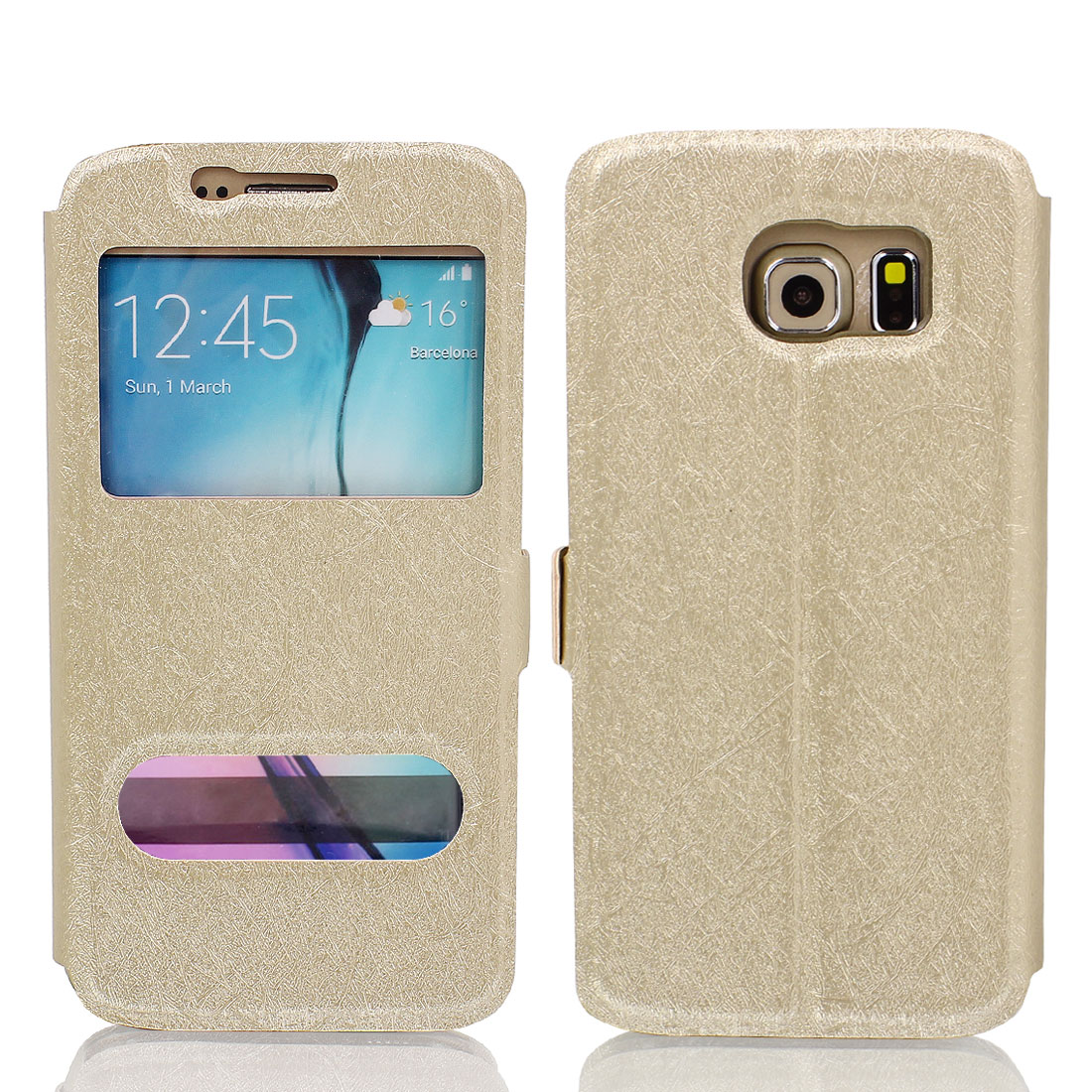 Magnetic Flip Faux Leather Case Cover Pouch Gold Tone for Galaxy S6 G9200