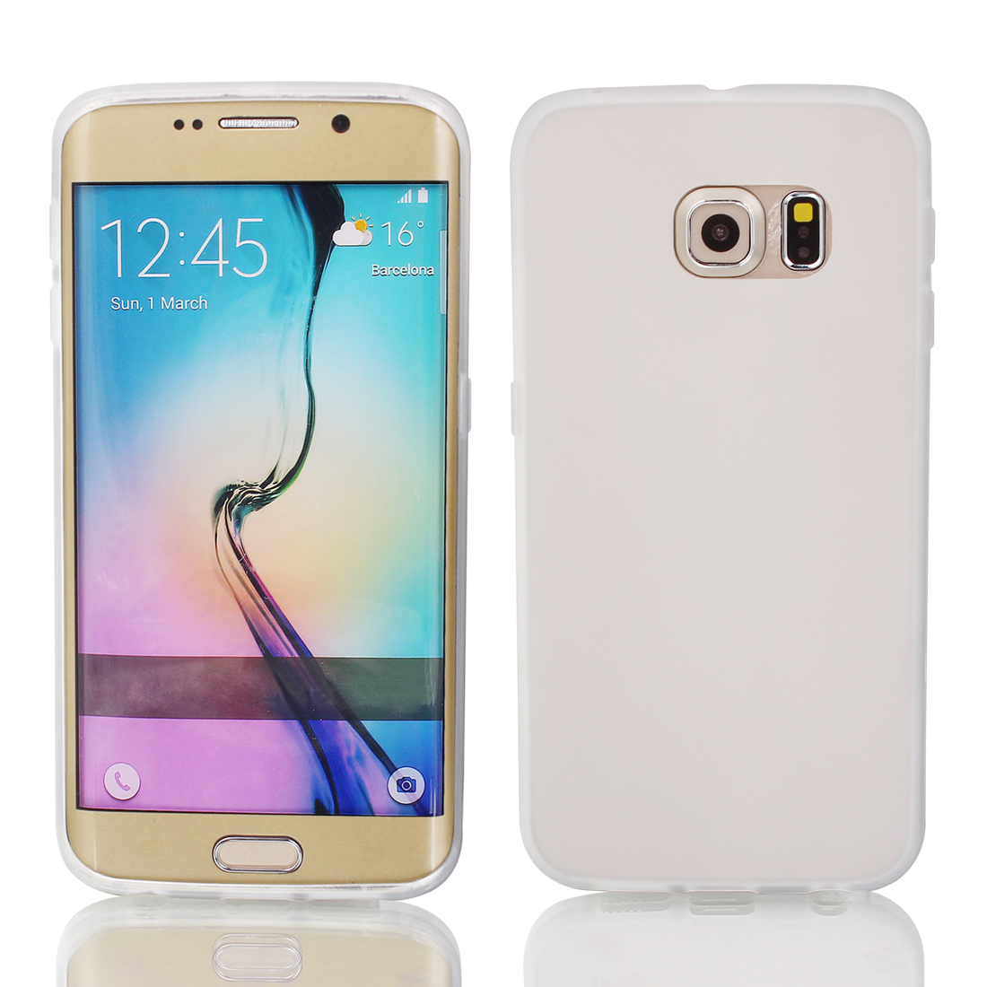 Clear Back Case Cover Protector w Protective Film Wiper for S6/G925
