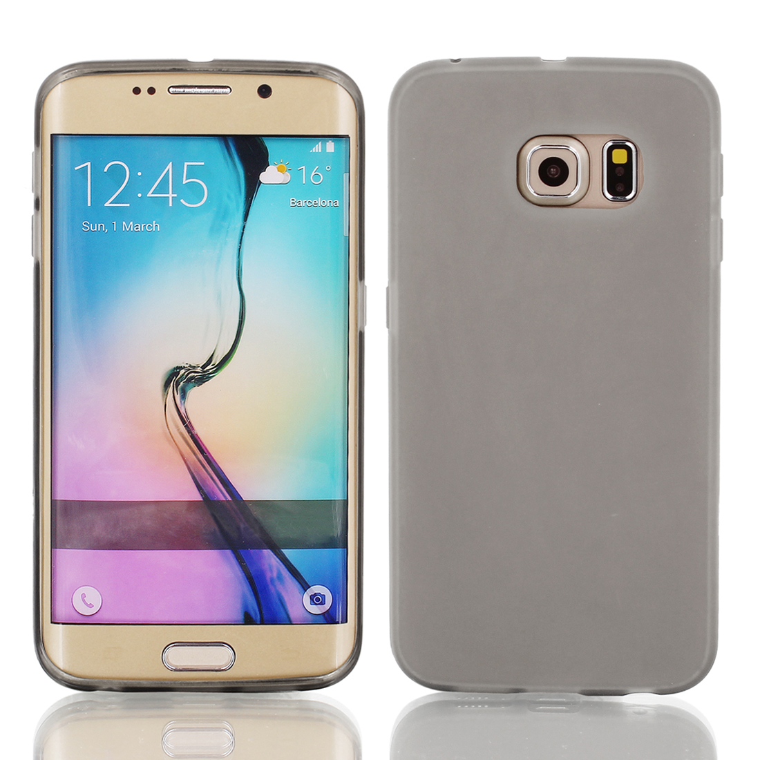 Gray Back Case Cover Protector w Protective Film Wiper for S6/G925