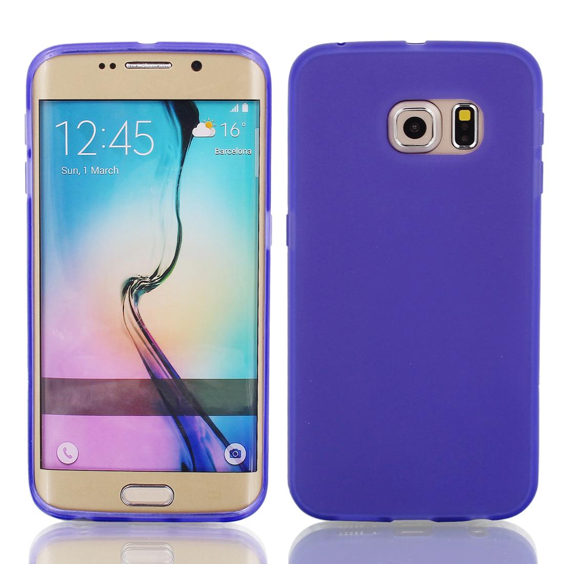 Purple Silicone Back Case Cover w Protective Film Wiper for S6/G925