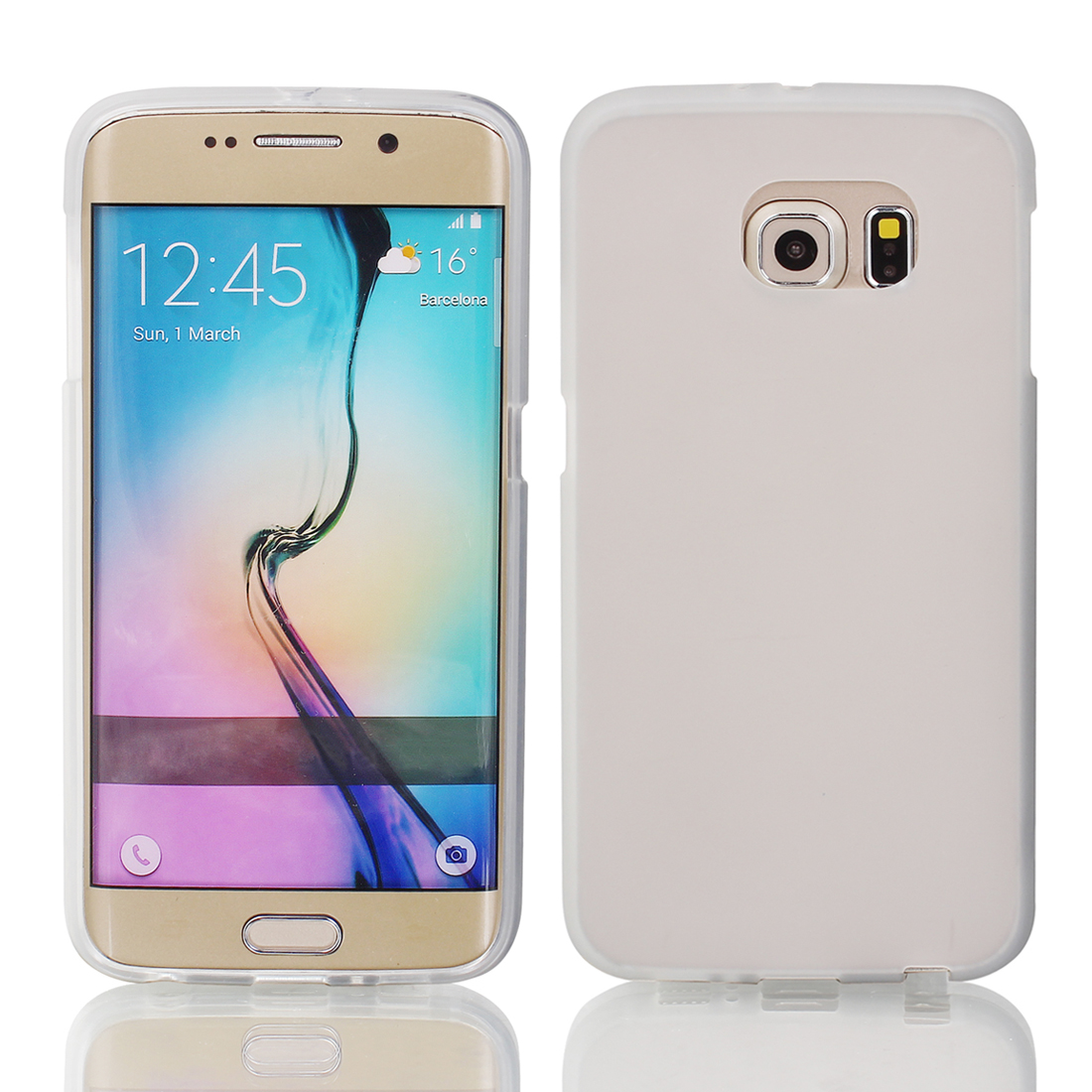Silicone Back Case Cover Protector w Protective Film Wiper for S6/G925