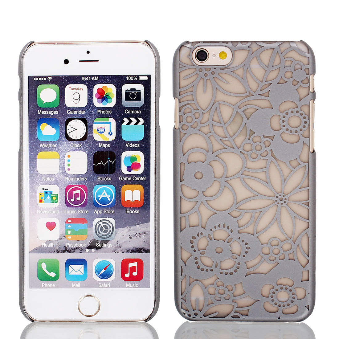 Vintage Pattern PVC Ultra Thin Case Cover Gray + Protective Film for iPhone 6 4.7""