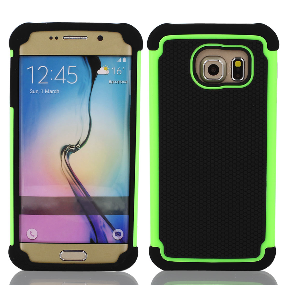 Black Green Back Case Cover Protector w Protective Film Wiper for S6