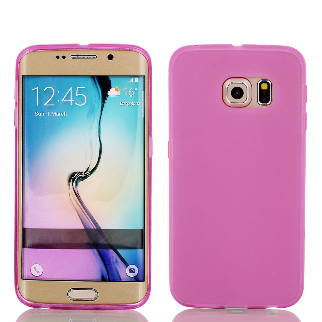 Pink Back Case Cover Protector w Protective Film Wiper for S6/G925