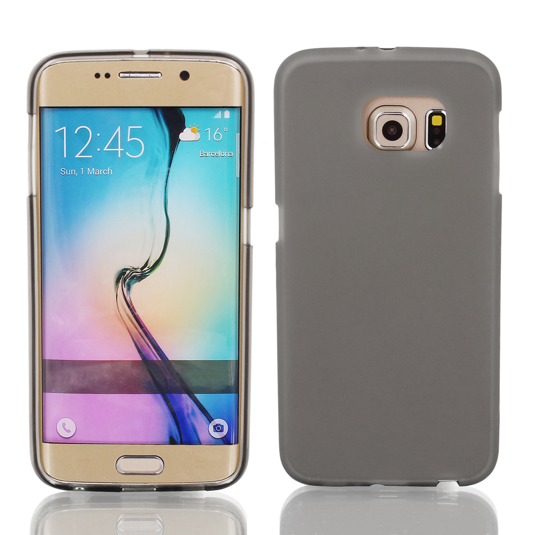 Gray Silicone Back Case Cover w Protective Film Wiper for S6/G925
