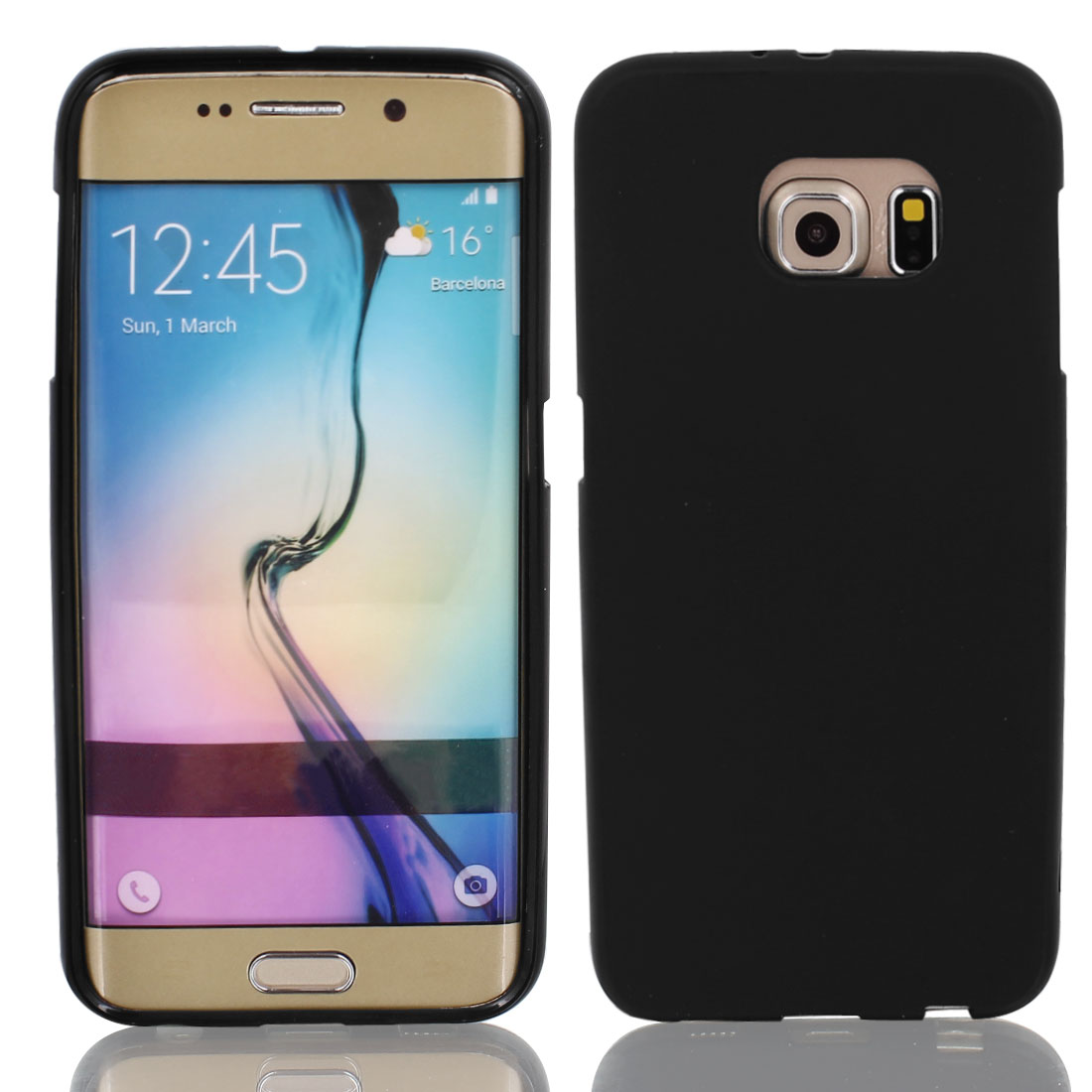 Black Silicone Back Case Cover w Protective Film Wiper for S6/G925