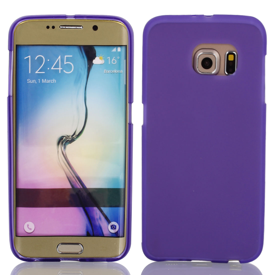 Purple Back Case Cover Protector w Protective Film Wiper for S6/G925