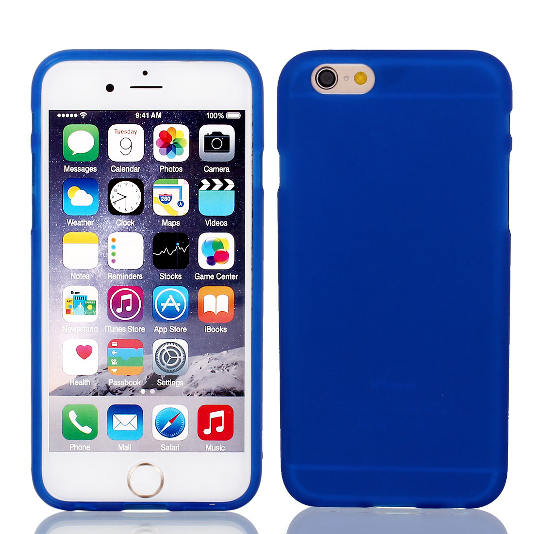 Blue TPU Ultra Anti Scratches Case Cover + Protective Film for iPhone 6 4.7""