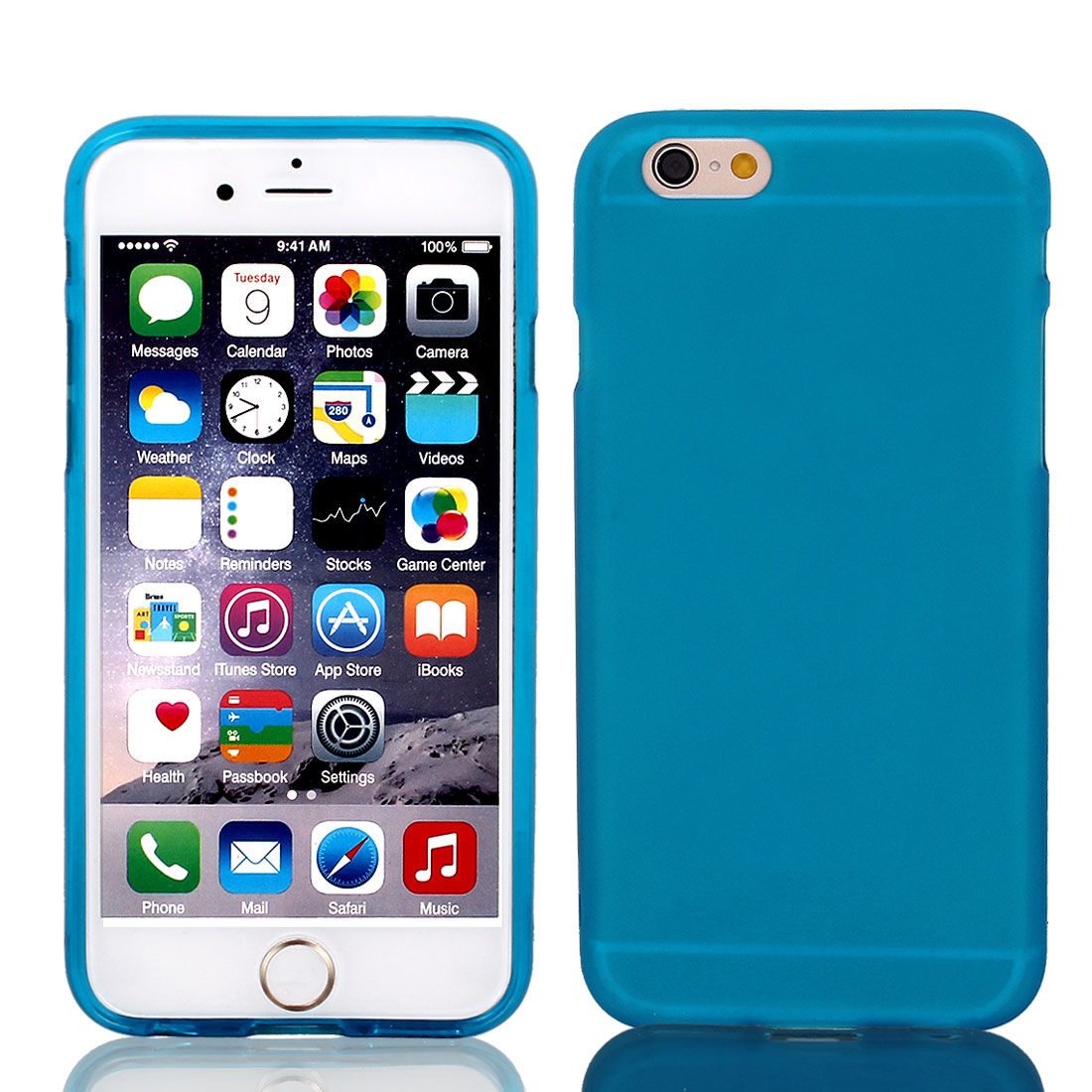 Sky Blue TPU Ultra Thin Case Cover + Protective Film for iPhone 6 4.7""