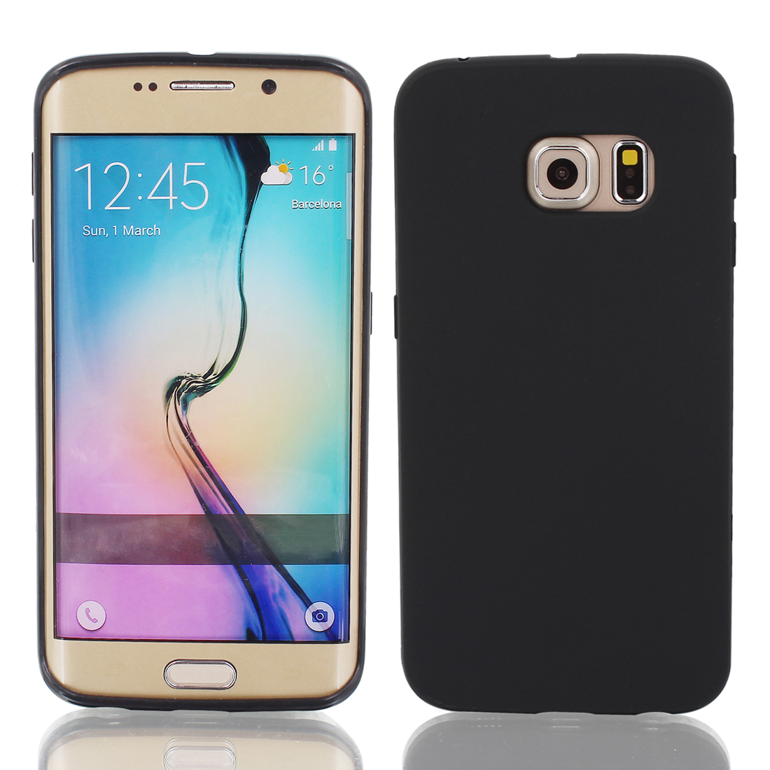 Black Back Case Cover Protector w Protective Film Wiper for S6/G925